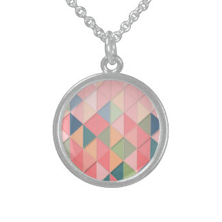 CUBISM pastel Shades GEOMETRIC - ADD MONOGRAM Sterling Silver Necklace