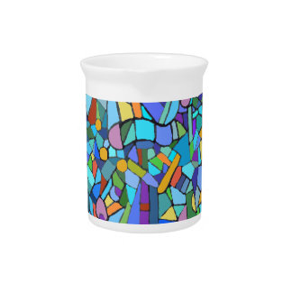 Cubist Abstract Art Design Beverage Pitcher