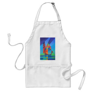 Cubist Abstract Junk Boat Against Deep Blue Sky Adult Apron