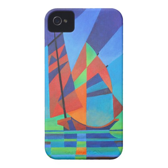 Cubist Abstract Junk Boat Against Deep Blue Sky Case-Mate iPhone 4 Case