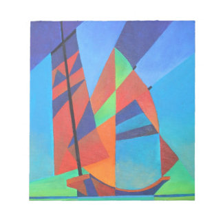 Cubist Abstract Junk Boat Against Deep Blue Sky Notepad