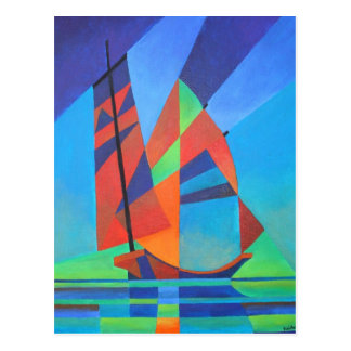Cubist Abstract Junk Boat Against Deep Blue Sky Postcard