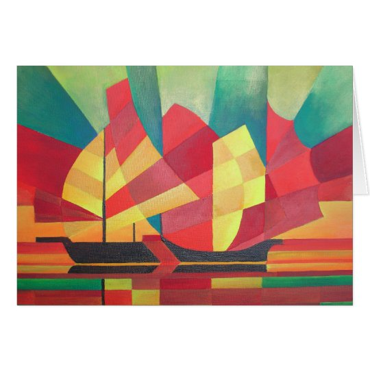Cubist Abstract of Junk Sails and Ocean Skies Card