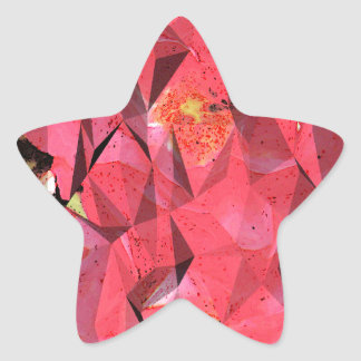 Cubist Abstract Roses Star Sticker