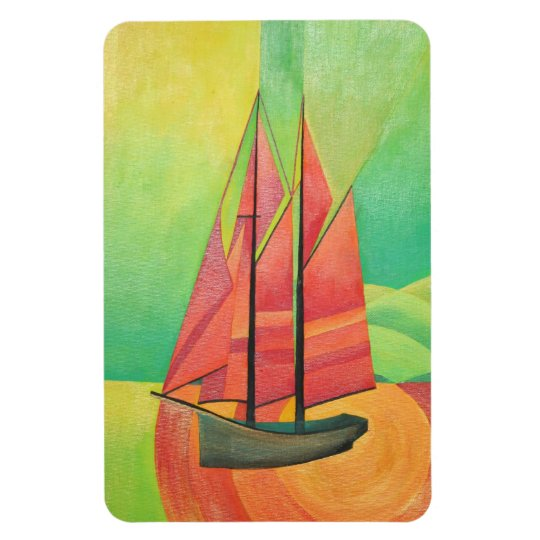 Cubist Abstract Sailing Boat Magnet