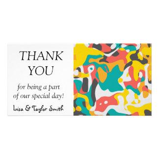 Cubist art in retro colors card