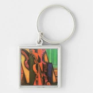 Cubist art Violin and Guitar painting by Juan Gris Keychain