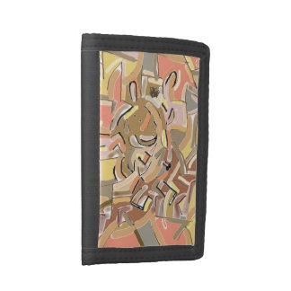cubist donkey descending stairs tri-fold wallet