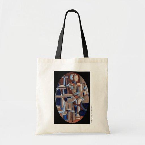 Cubist Figure Rendering Canvas Bags
