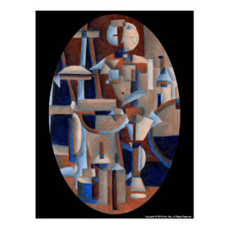 Cubist Figure Rendering Post Card