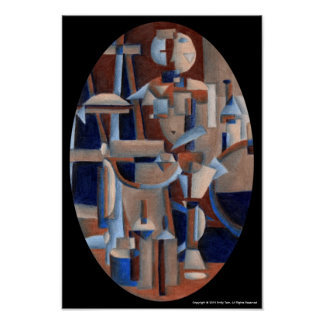 Cubist Figure Rendering Poster