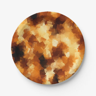 Cubist Fire Abstract Pattern Paper Plate