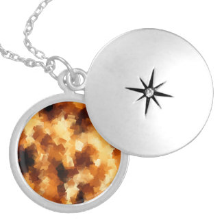 Cubist Fire Abstract Pattern Round Locket Necklace
