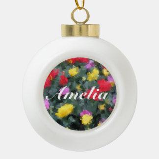Cubist Flowers Ceramic Ball Christmas Ornament