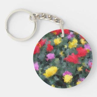Cubist Flowers Keychain