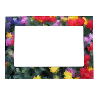 Cubist Flowers Photo Frame Magnets