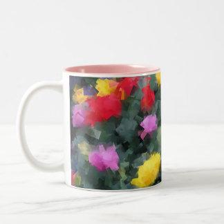 Cubist Flowers Two-Tone Coffee Mug