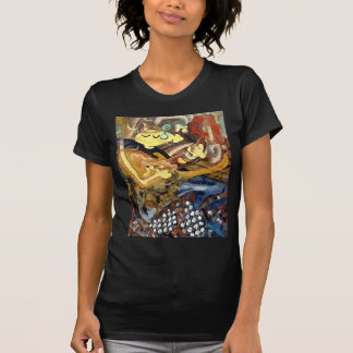 Cubist painting of guitar player in slippers T-Shirt