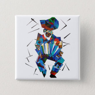 Cubist Portrait of Accordian Player Isolated on Wh Button