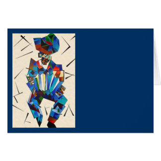 Cubist Portrait of Accordian Player Isolated on Wh Card