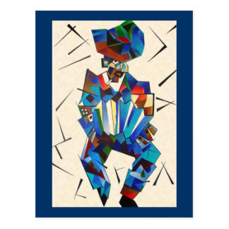Cubist Portrait of Accordian Player Isolated on Wh Postcard