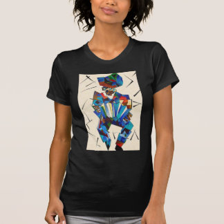 Cubist Portrait of Accordian Player Isolated on Wh T-Shirt