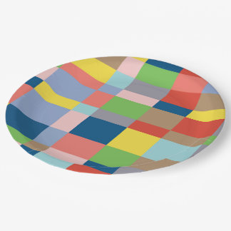 Cubist Quilt in Spring Colors Paper Plate