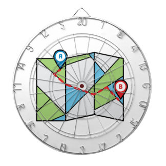 Cubist Road Map Dartboard With Darts