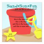 Cubo de la arena invitación 13,3 cm x 13,3cm