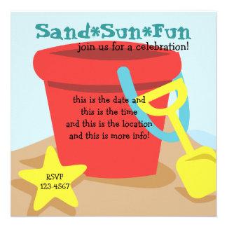 Cubo de la arena invitacion personalizada