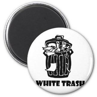 Cubo de la basura de la basura blanca imán redondo 5 cm