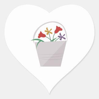 Cubo de la flor pegatina en forma de corazón