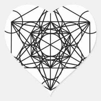 Cubo de Metatron Pegatina En Forma De Corazón