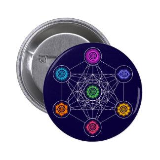 Cubo de Metatrons, Chakras, centros de energía Pin Redondo De 2 Pulgadas