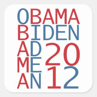Cubo de Obama - de Biden 2012 Calcomanías Cuadradas Personalizadas