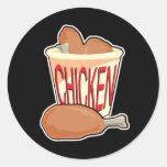 cubo de pollo frito etiquetas redondas