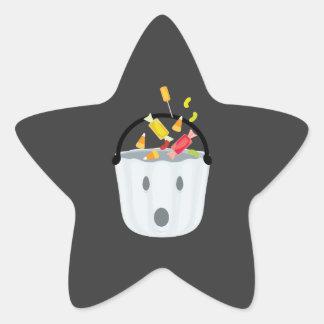 Cubo del caramelo del fantasma pegatinas forma de estrellaes