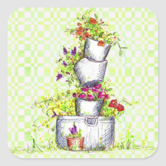 Cubo del jardín de flores del control del verde de pegatina cuadrada