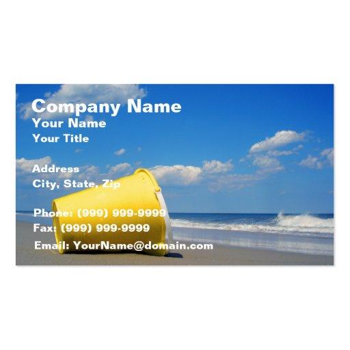 Cubo solitario de la playa tarjetas de negocios