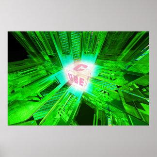 cubo verde de la energía póster