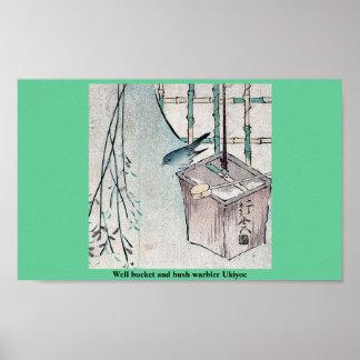 Cubo y curruca bien Ukiyoe del arbusto Posters