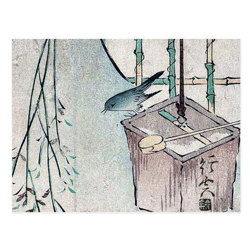 Cubo y curruca bien Ukiyoe del arbusto Postal