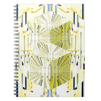 Cubos abstractos del amarillo 3d libro de apuntes con espiral
