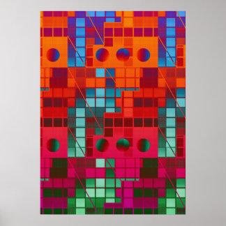 Cubos abstractos fluorescentes poster