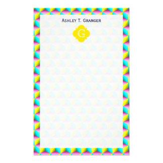 Cubos amarillos de la mirada 3D de la aguamarina Personalized Stationery
