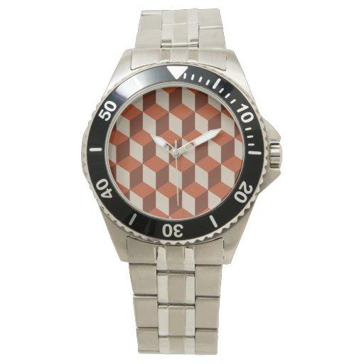 Cubos anaranjados relojes de pulsera
