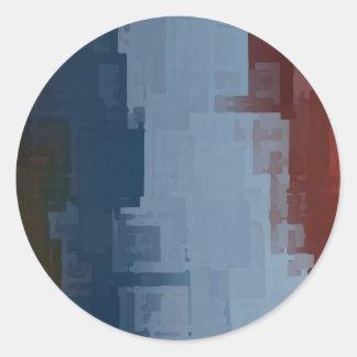 cubos azules blancos rojos pegatina redonda
