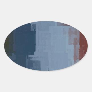 cubos azules blancos rojos pegatina ovalada