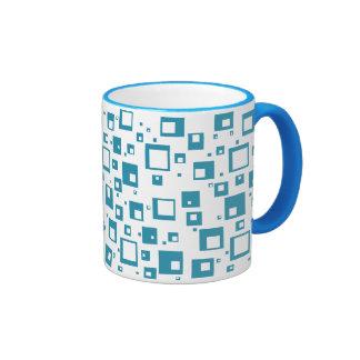 Cubos azules claros taza de dos colores
