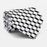 Cubos blancos negros geométricos modernos corbata personalizada